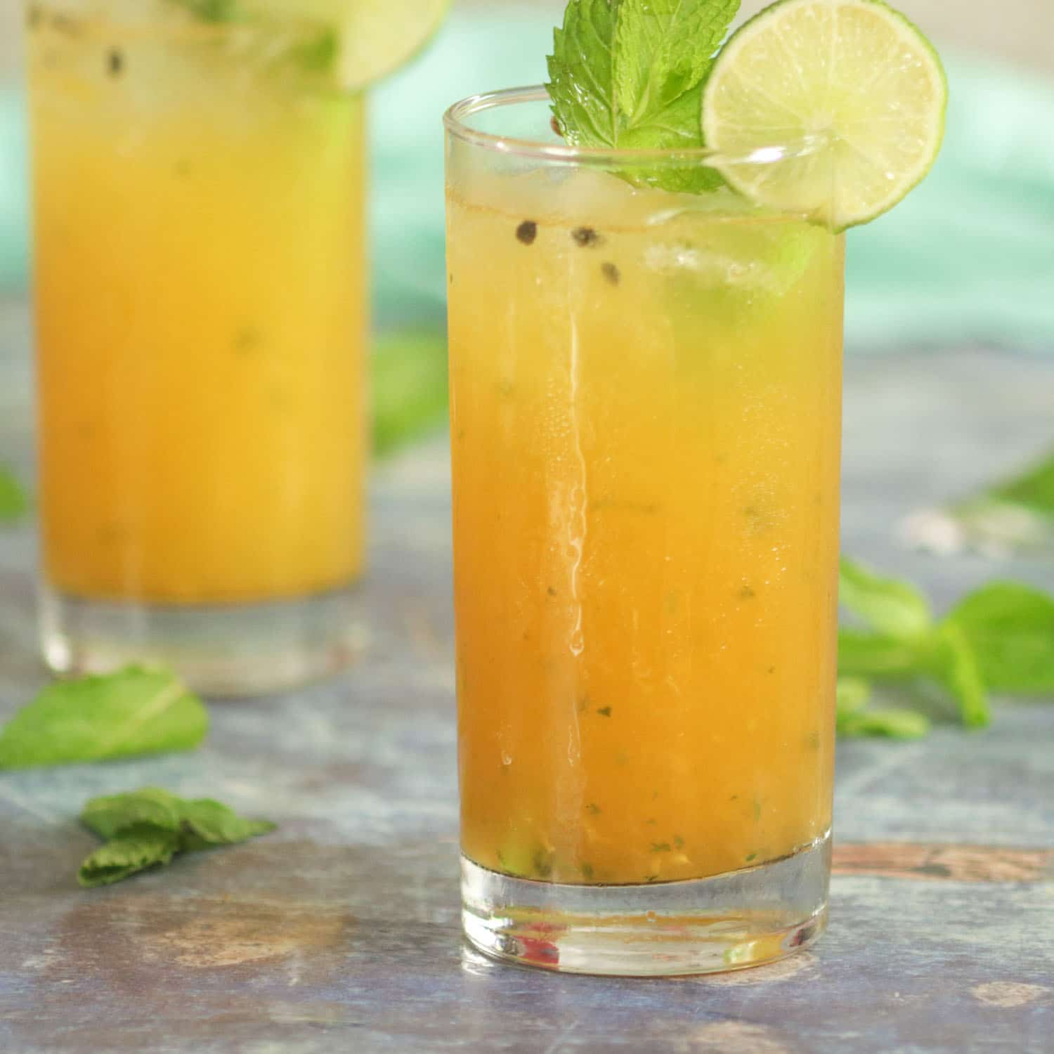 Passionfruit Mojito with fresh mint and passionfruit puree