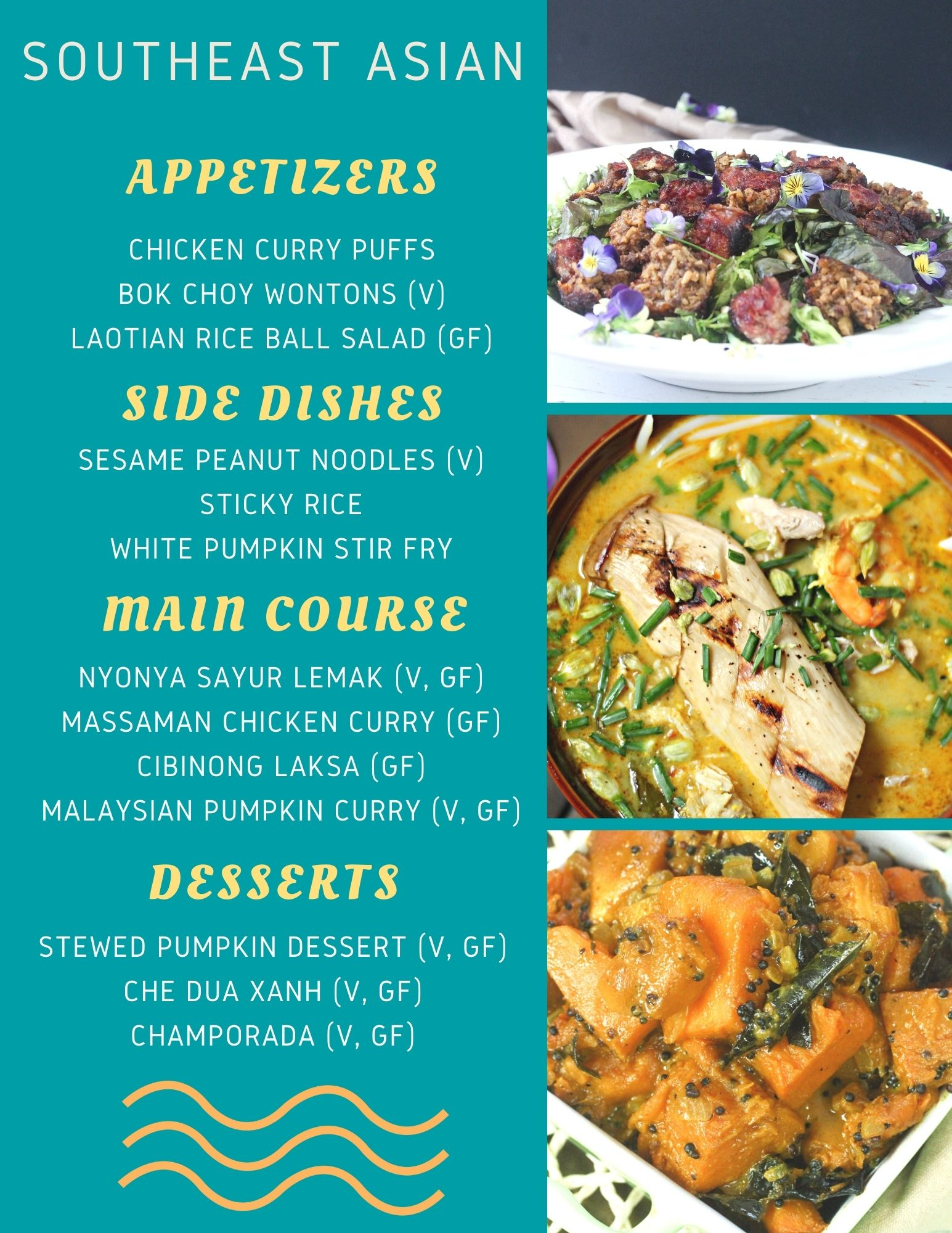 Thanksgiving Dinner Ideas without turkey - menu with text and photos