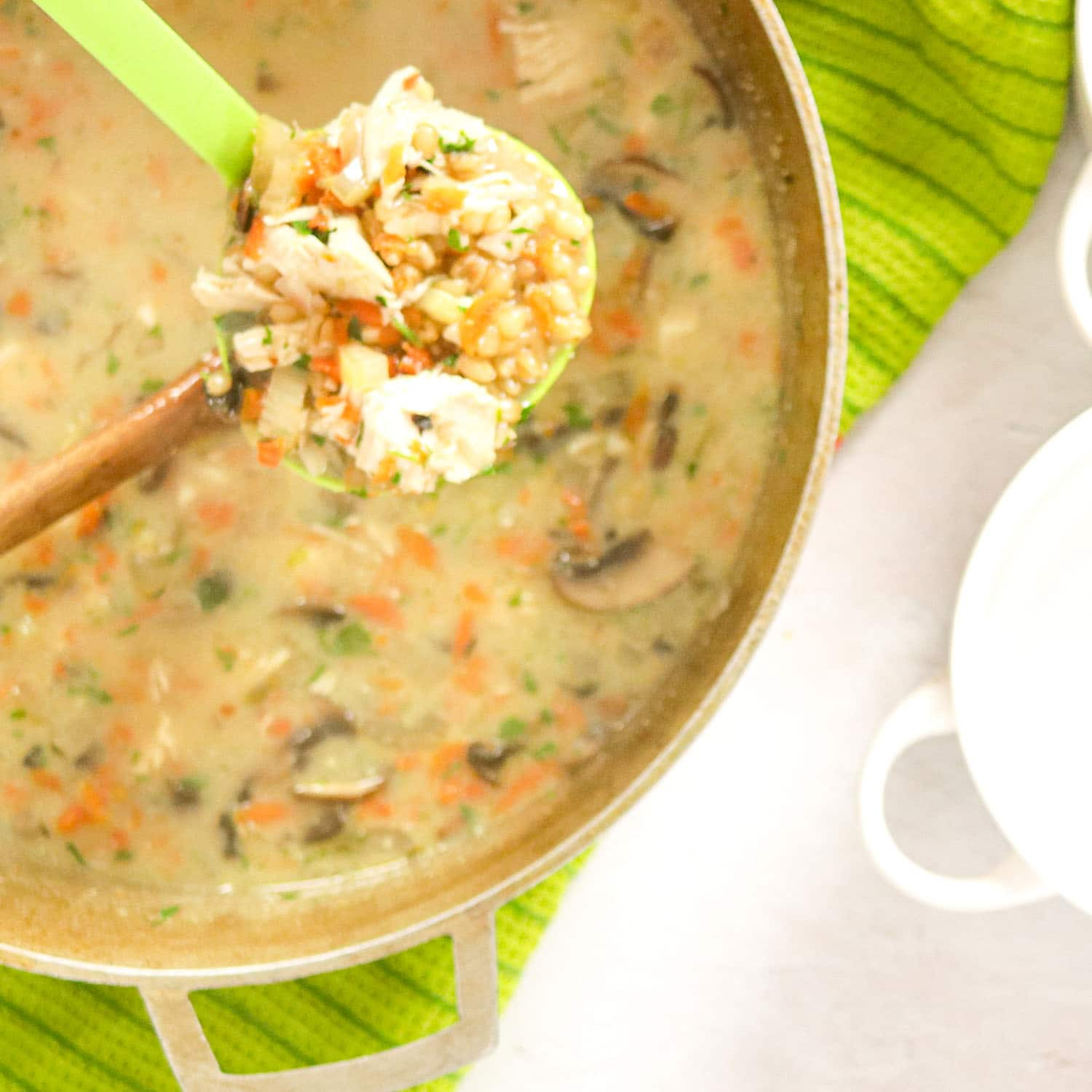 Pot of Creamy Chicken Soup with soup in ladle