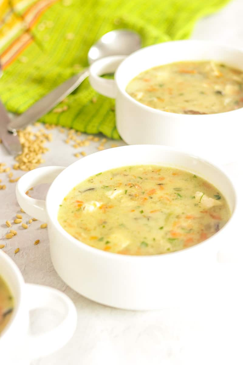 Chicken Soup in bowls with vegetables