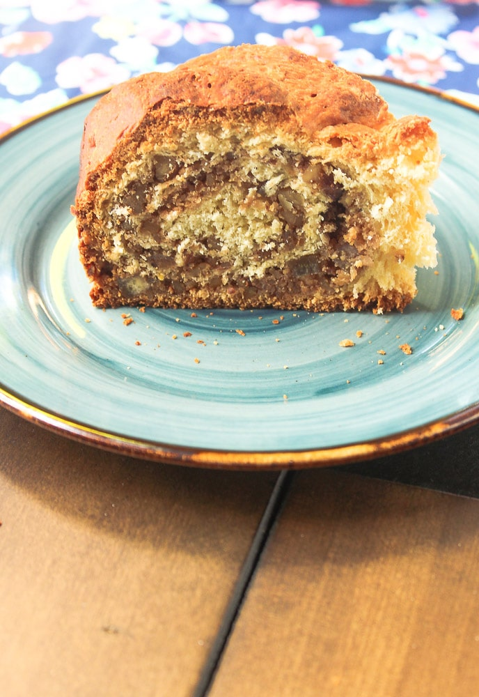 slice of Gubana Italian Sweet Bread on a plate