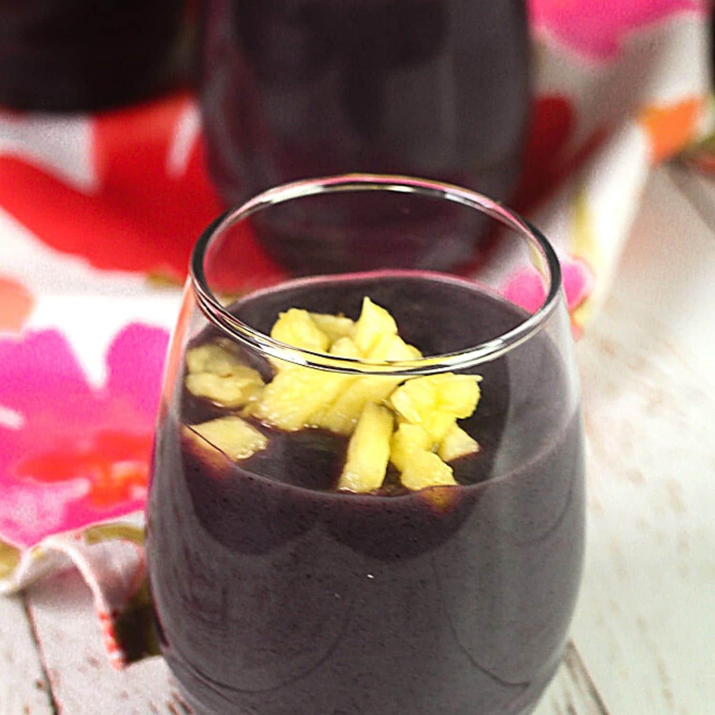 Api Morada - Bolivian Purple Corn Drink in a glass with pineapple