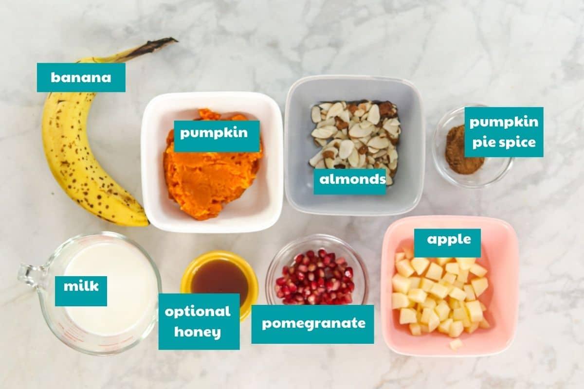 Pumpkin PIe Smoothie Bowl ingredients with labels