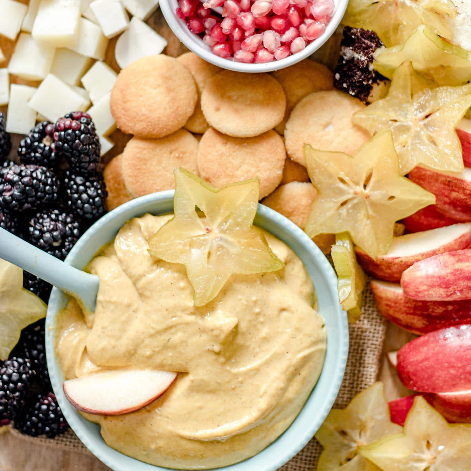 Grazing platter with pumpkin dip, fruit, cookies and cheese