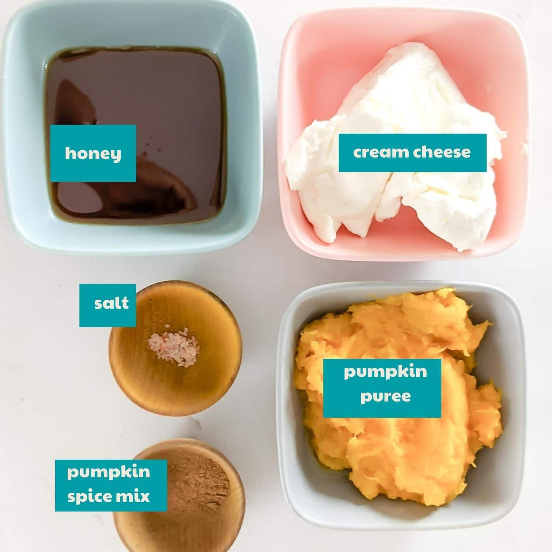 Pumpkin Dip ingredients with labels