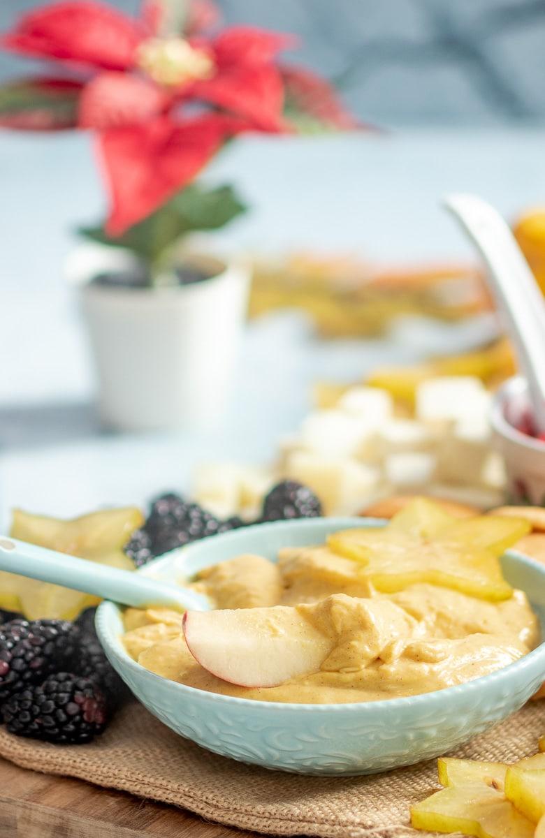 Pumpkin Dip with apple, starfruit and blackberries
