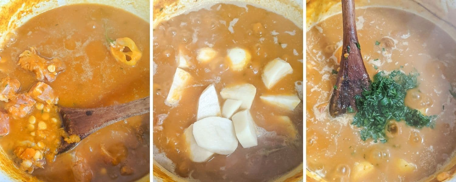 How to make West Indian Pumpkin Soup - step by step photos
