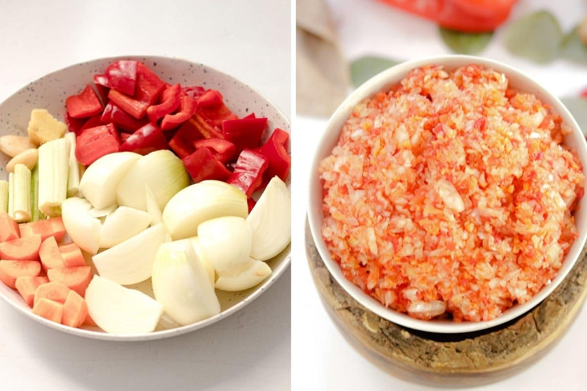 bowl of raw vegetables side by side with photo of chopped up vegetables - Caribbean seasoning