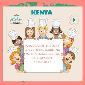 Kids in chef hats with text label - Kenya Study Guide